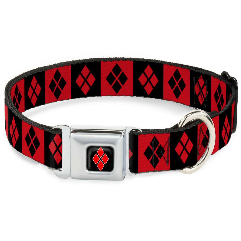 Harley Quinn Diamond Block Seatbelt Buckle Dog Collar by Buckle-Down