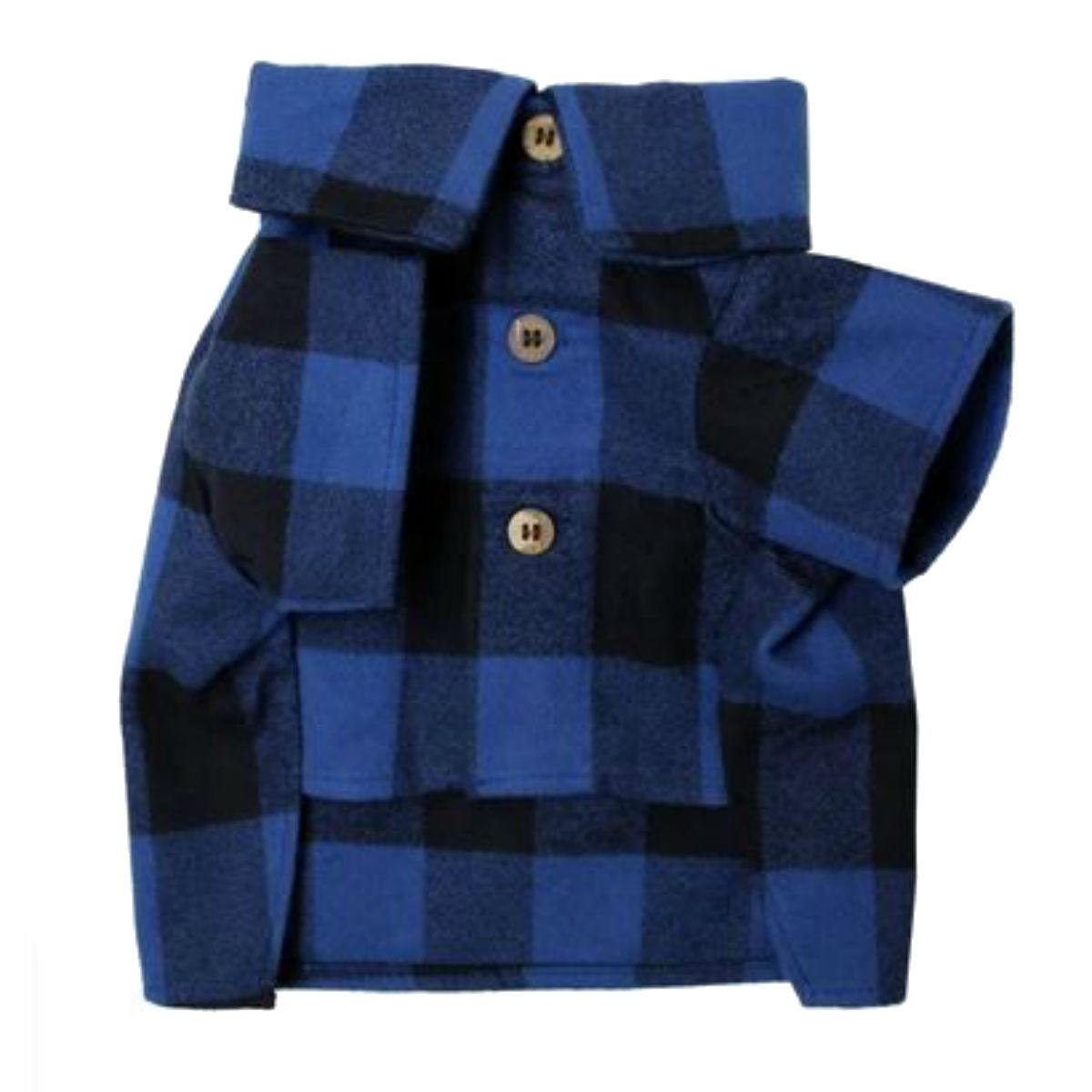Pacifica Flannel Dog Shirt by Dog Threads - Blue and Black Plaid
