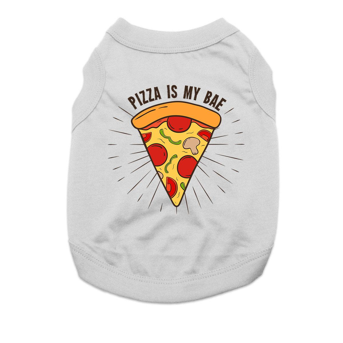 Pizza is My Bae Dog Shirt - Gray