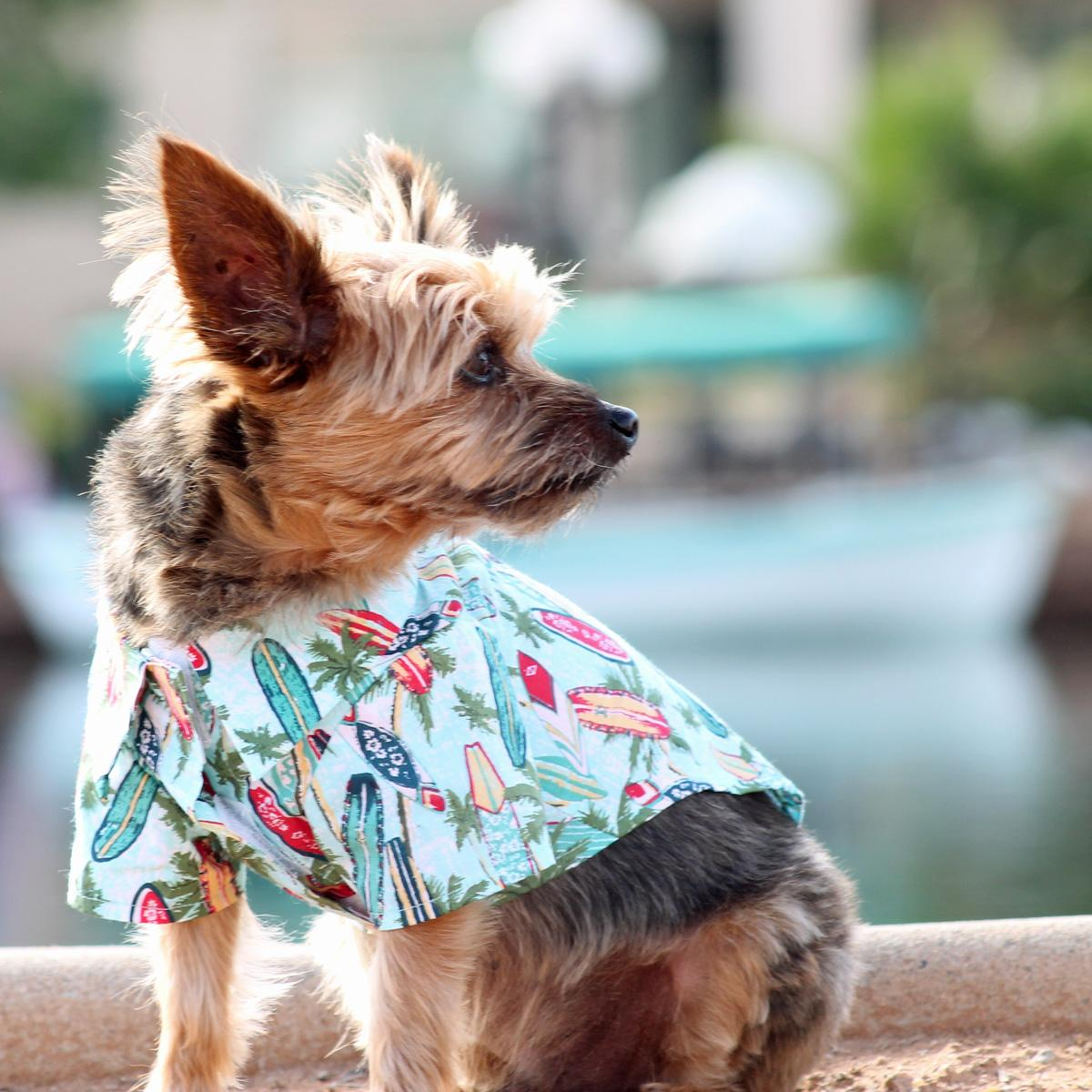 Hawaiian Camp Shirt by Doggie Design - Surfboards and Palms