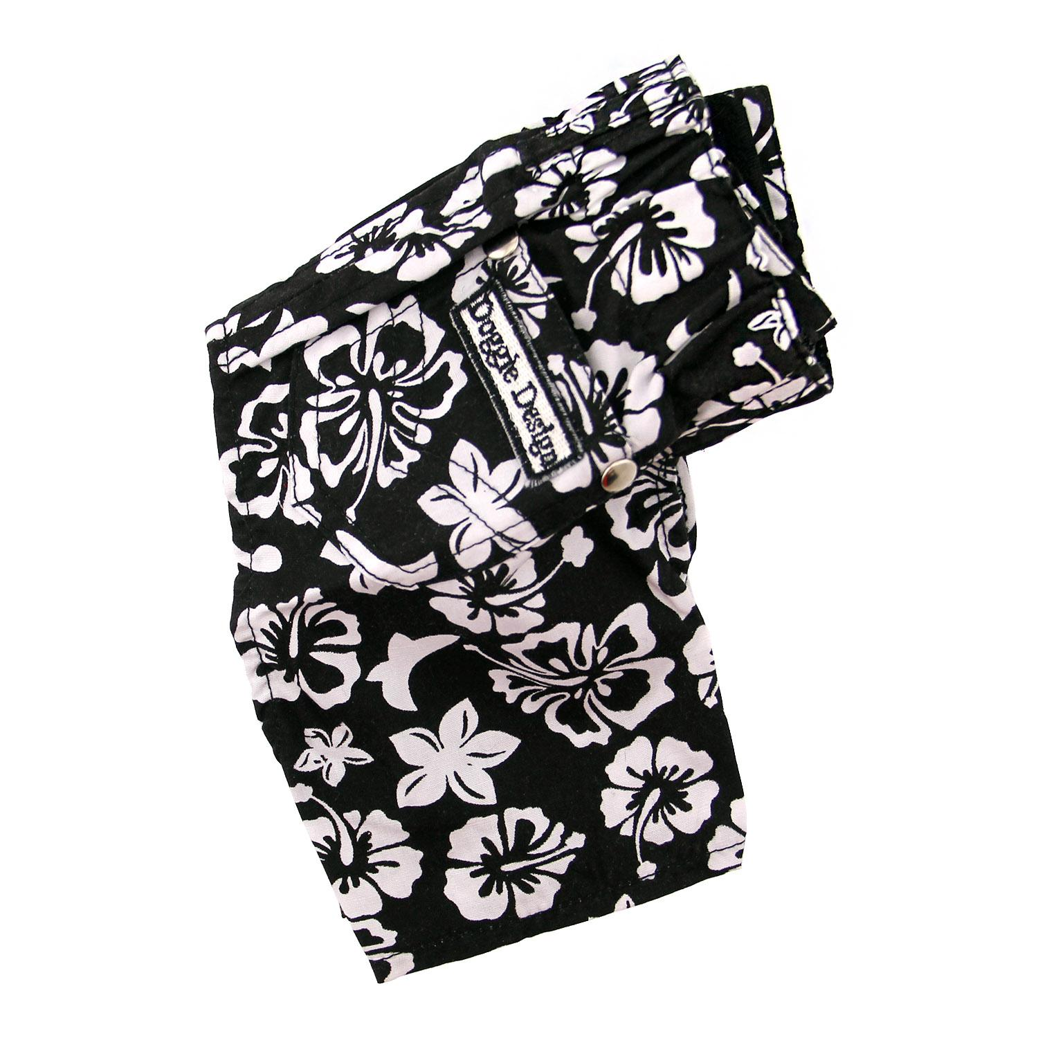 Hawaiian Print Dog Board Shorts - Black with Same Day ...