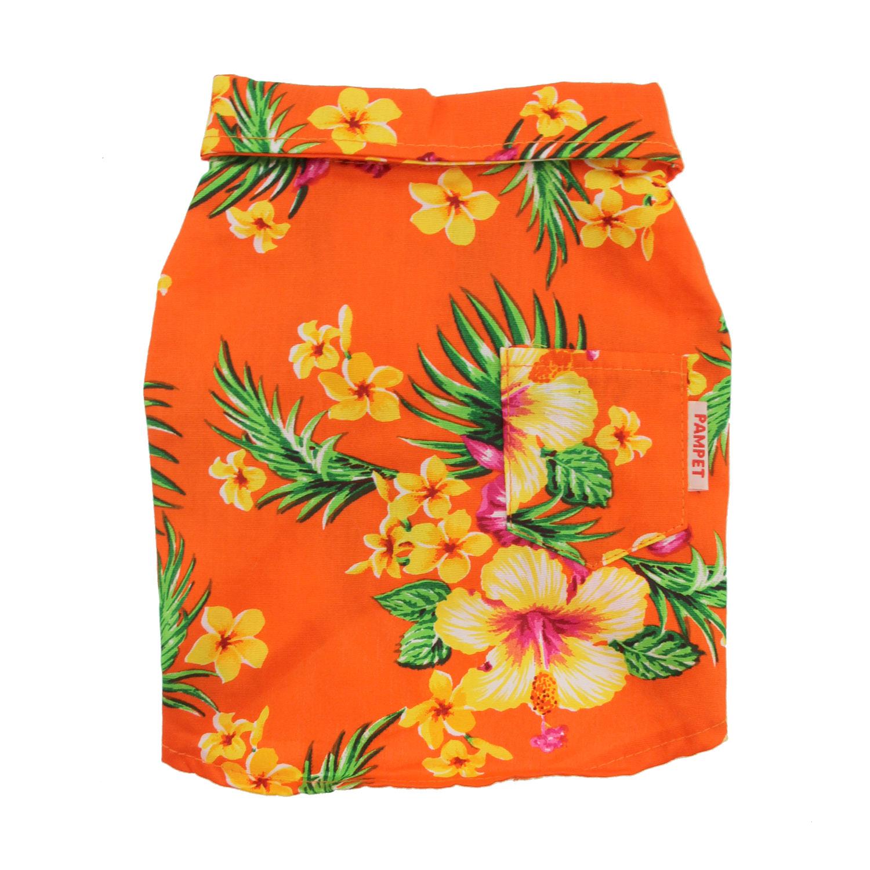 Hawaiian Print Dog Shirt - Orange