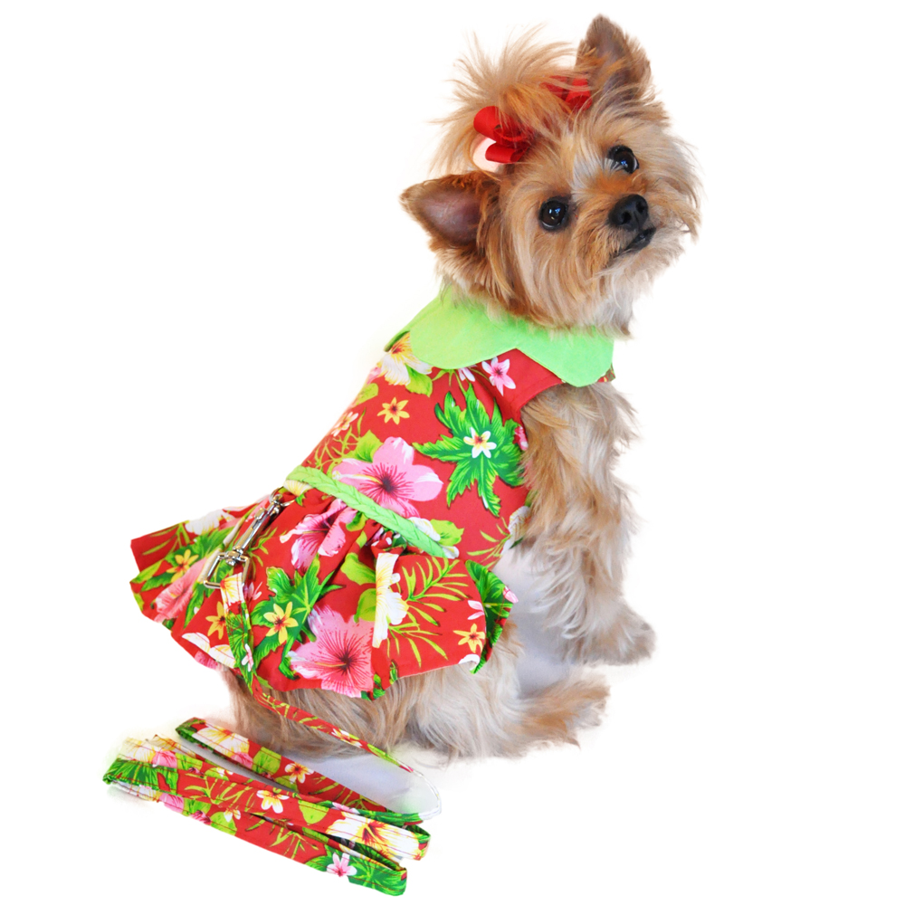 7bd56fe2 Red Hawaiian Hibiscus Designer Dog Harness Dr... | BaxterBoo