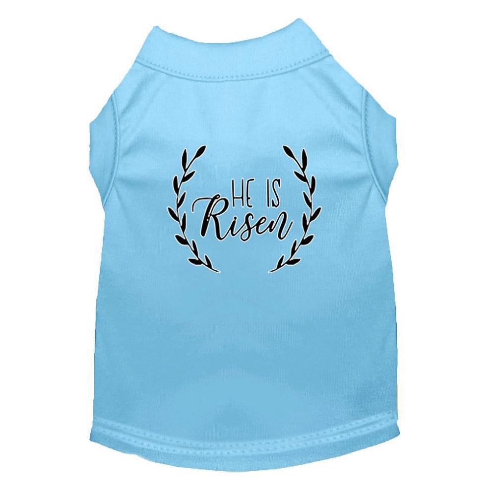 He Is Risen Screen Print Dog Shirt - Baby Blue