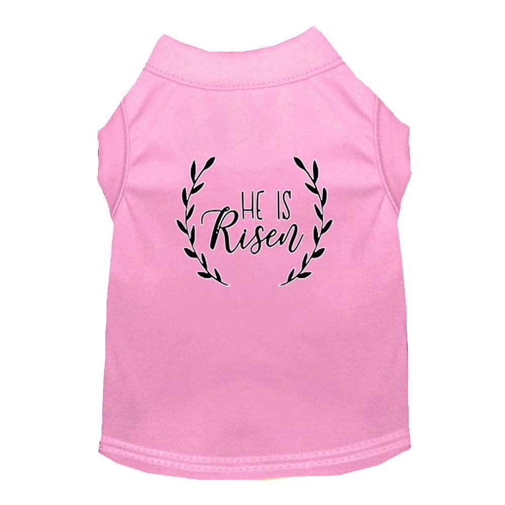 He Is Risen Screen Print Dog Shirt - Light Pink