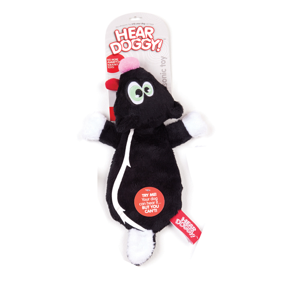 Hear Doggy Flat Dog Toy - Skunk