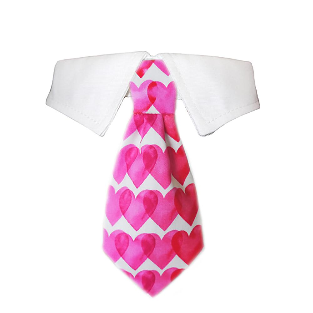 Heart Dog Shirt Collar and Tie - Pink