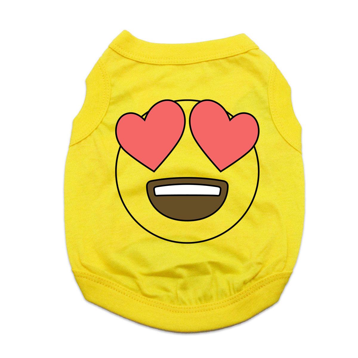 Heart Eyes Emoji Dog Shirt - Yellow