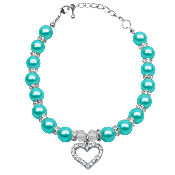 Heart and Pearl Dog Necklace - Aqua