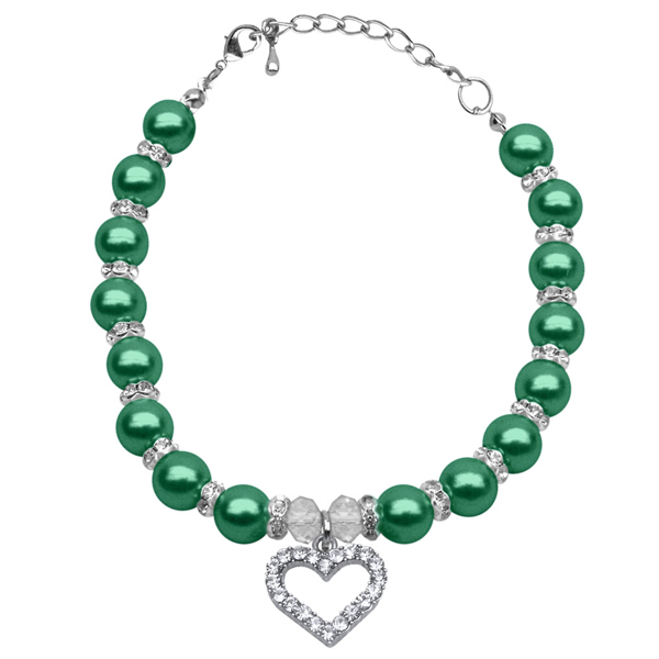 Heart and Pearl Dog Necklace - Emerald Green
