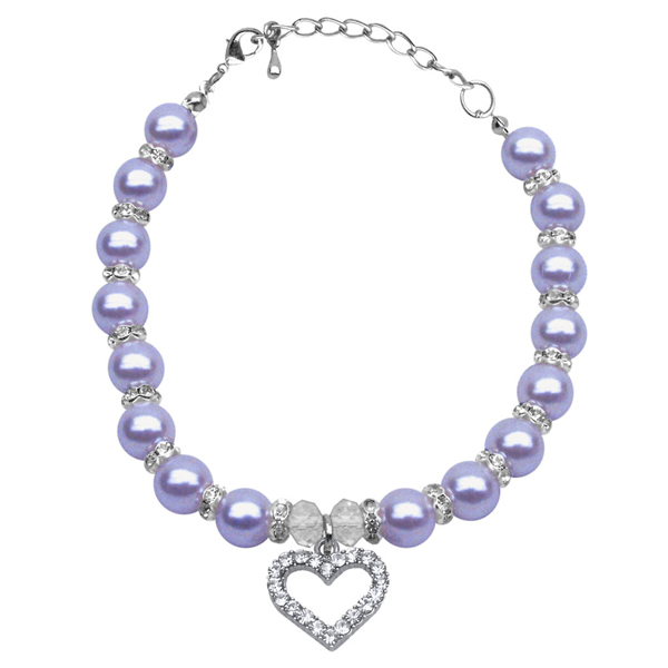 Heart and Pearl Dog Necklace - Lavender
