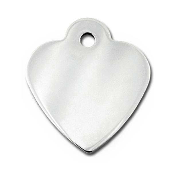 Heart Small Engravable Pet I.D. Tag - Chrome