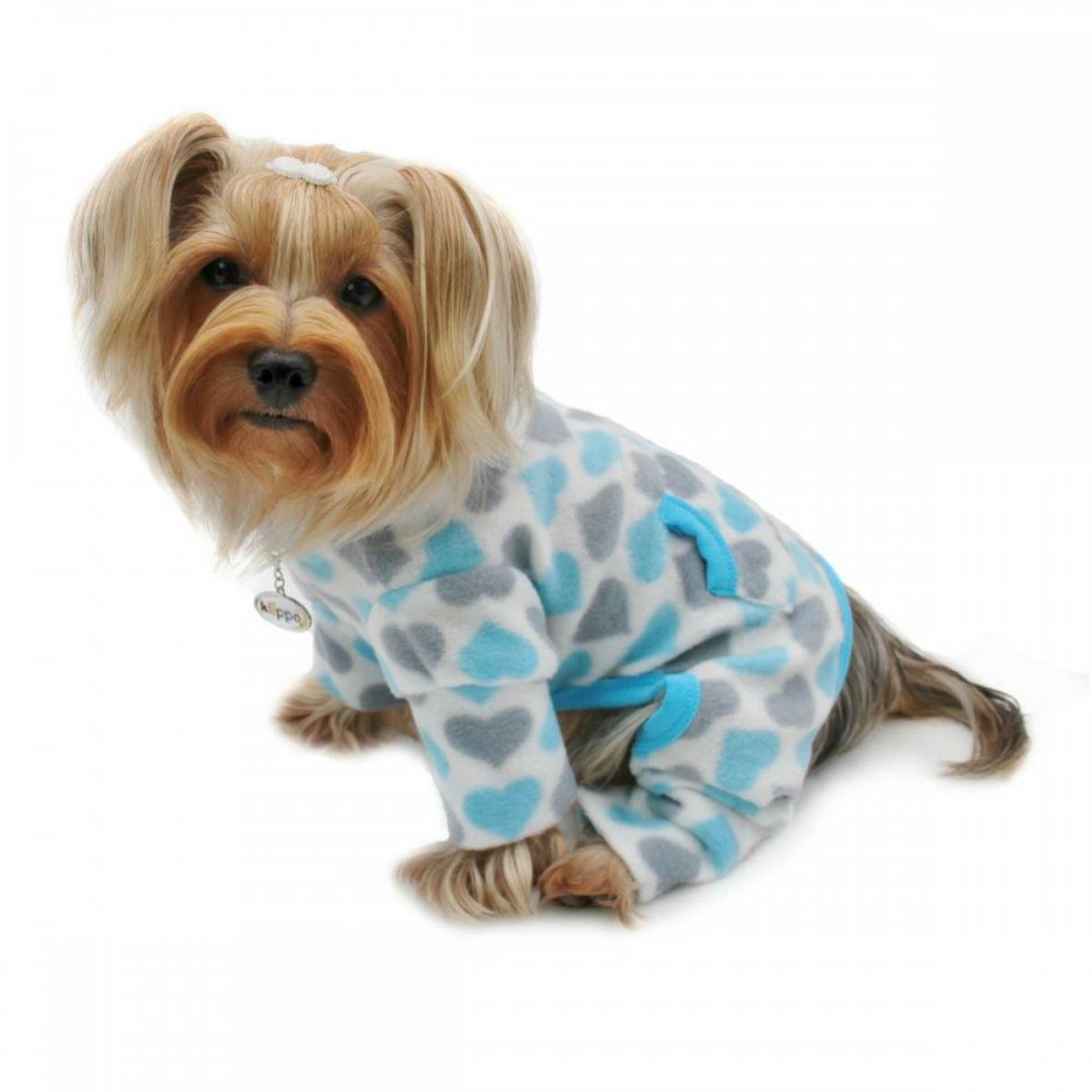 Hearts Turtleneck Fleece Dog Pajamas by Klippo - Blue and Gray