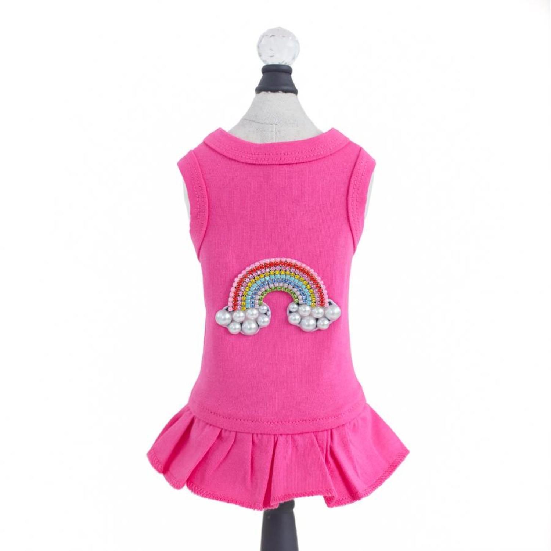 Hello Doggie Rainbow Dog Dress - Fuschia