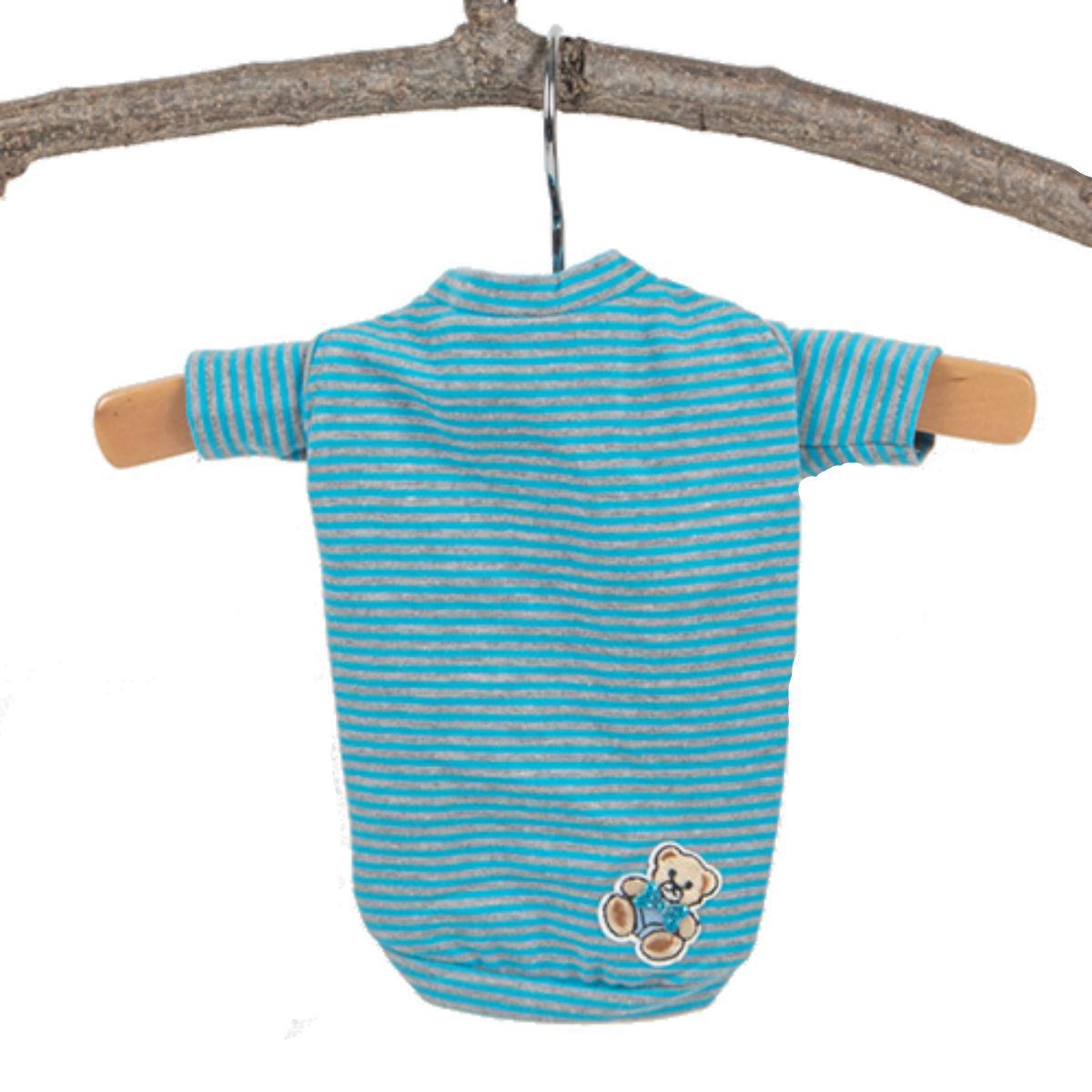 Hello Doggie Candy Striped Dog Shirt - Blue