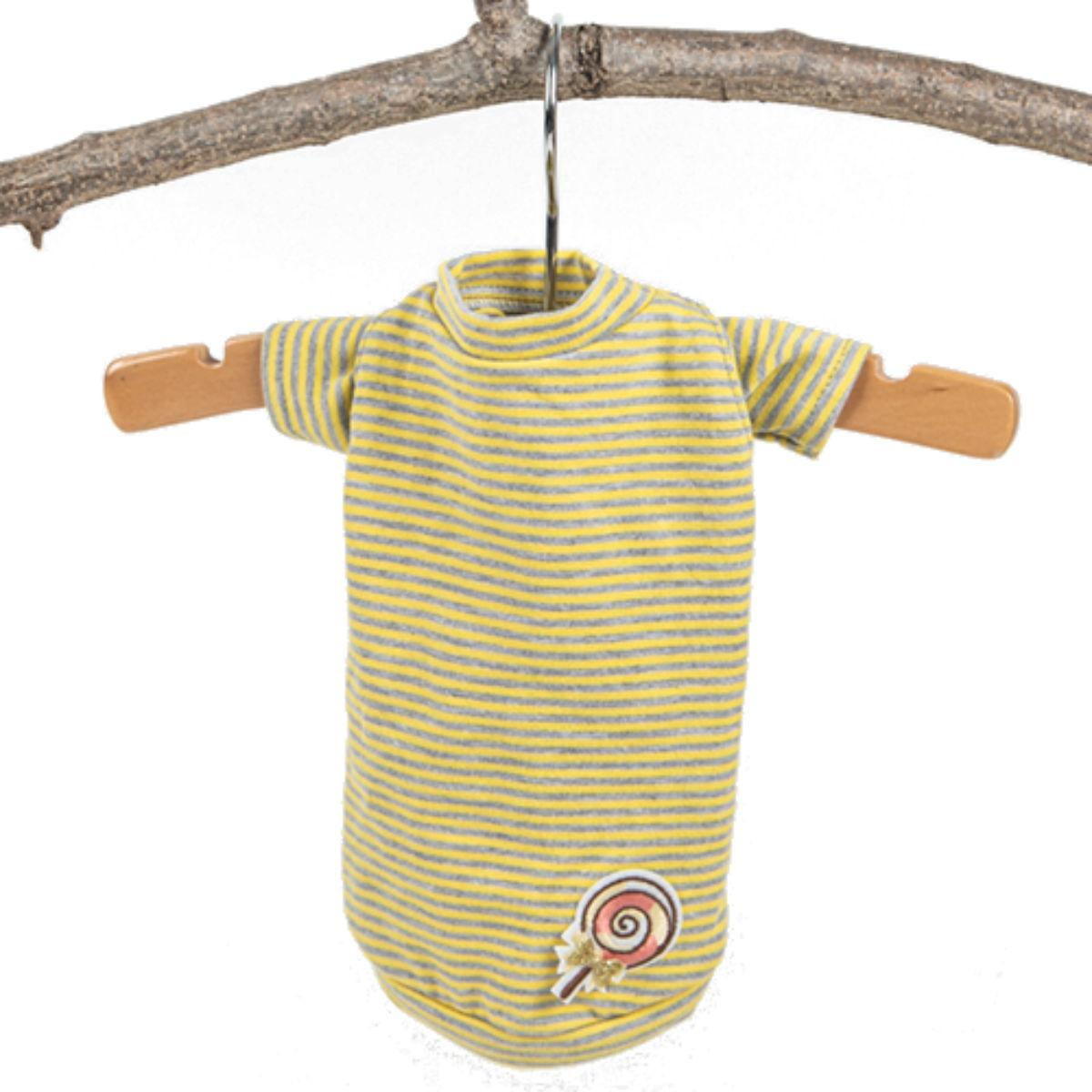 Hello Doggie Candy Striped Dog Shirt - Yellow
