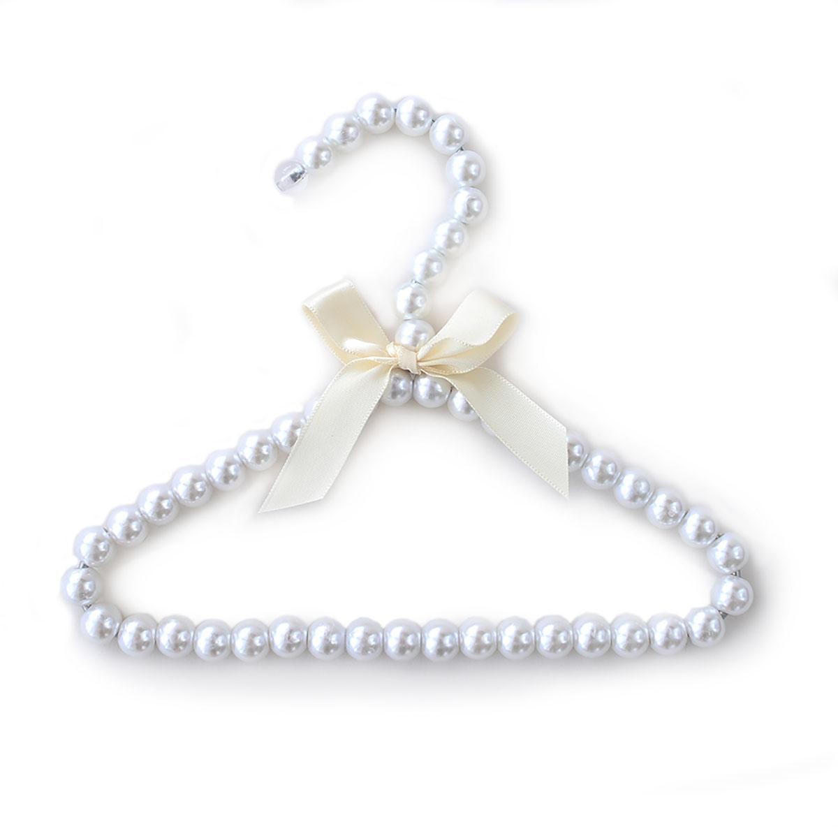 Hello Doggie Pearl Dog Fashion Hanger - Ivory