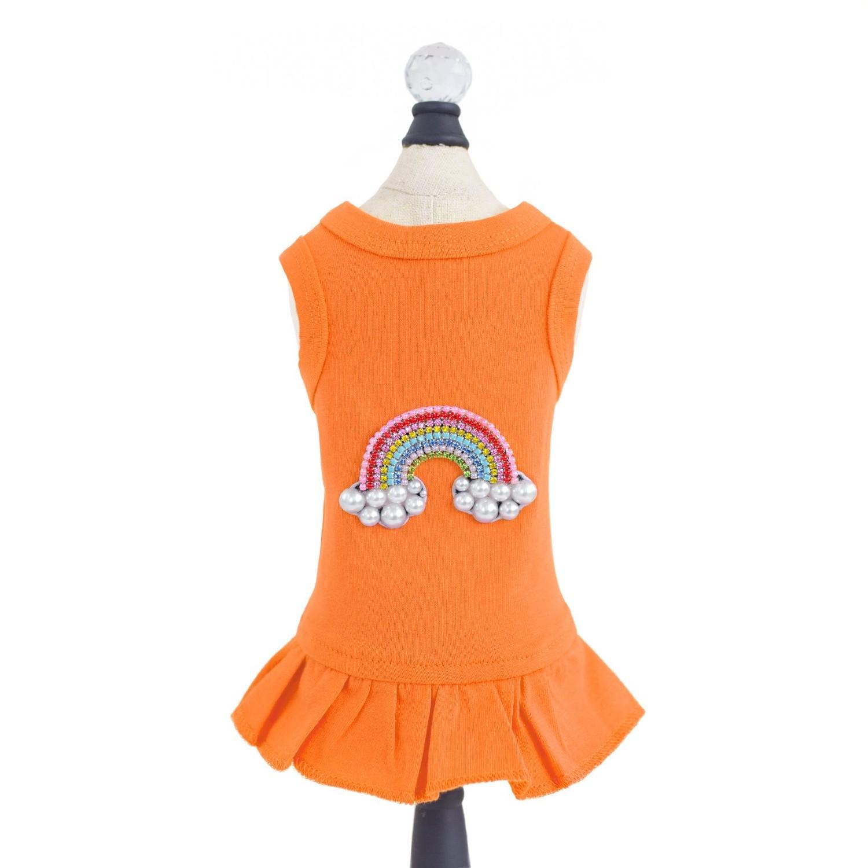 Hello Doggie Rainbow Dog Dress - Orange