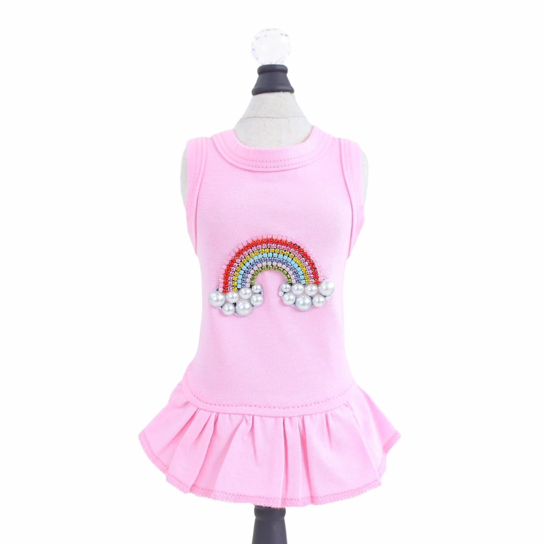 Hello Doggie Rainbow Dog Dress - Pink