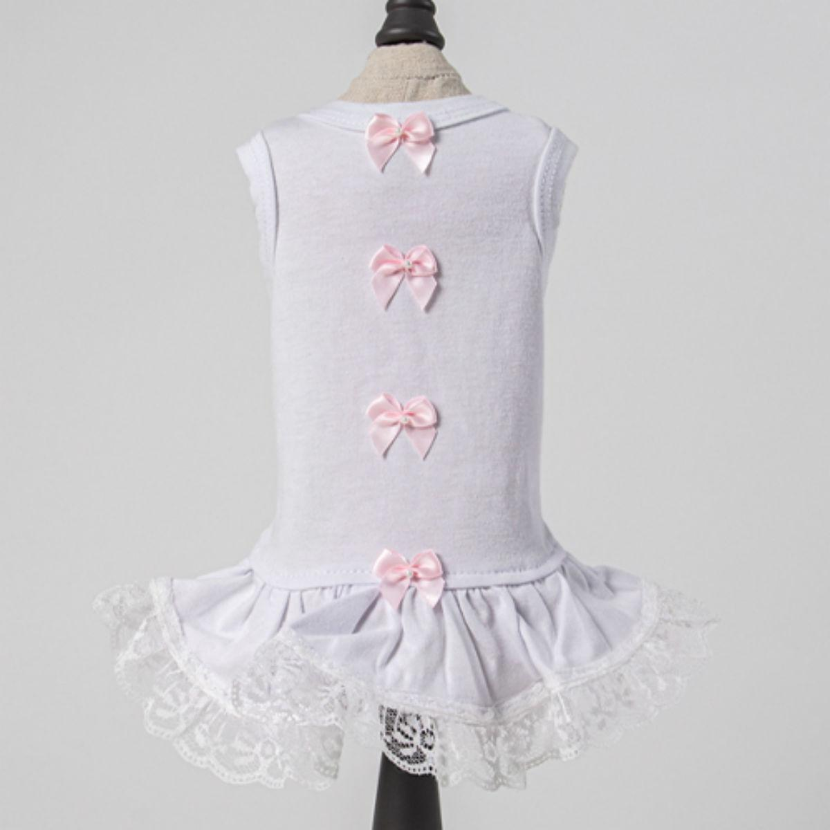 Hello Doggie Sweetheart Dog Dress - Pink and White