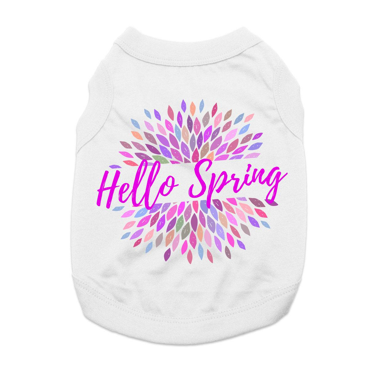 Hello Spring Dog Shirt - White