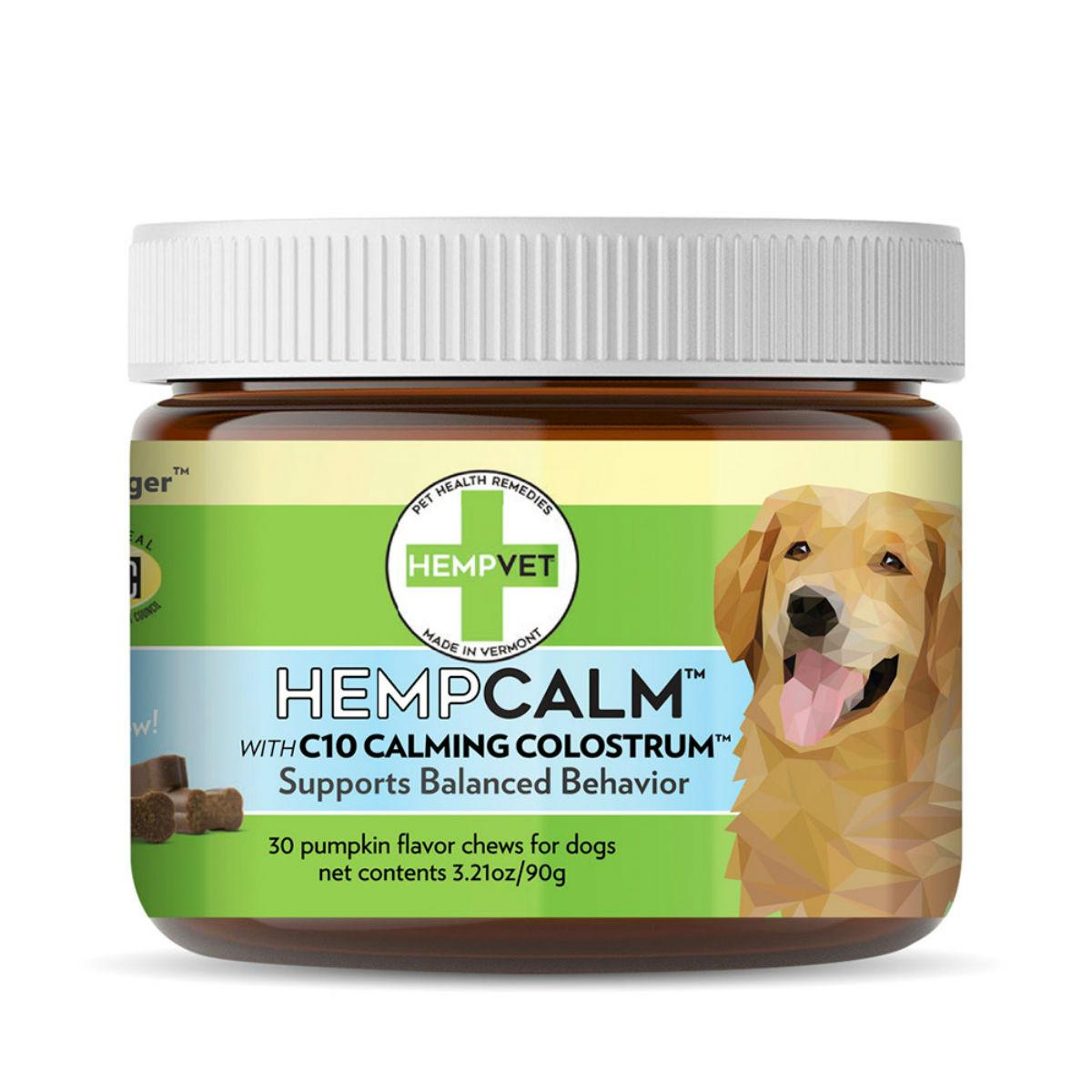 HempVet HempCalm Dog Supplement with CBD + C10 Calming Complex