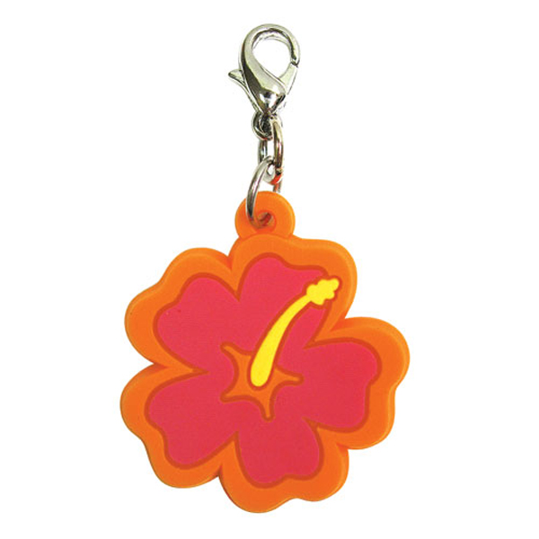 Hibiscus Soft Rubber Dog Collar Charm - Pink/Orange