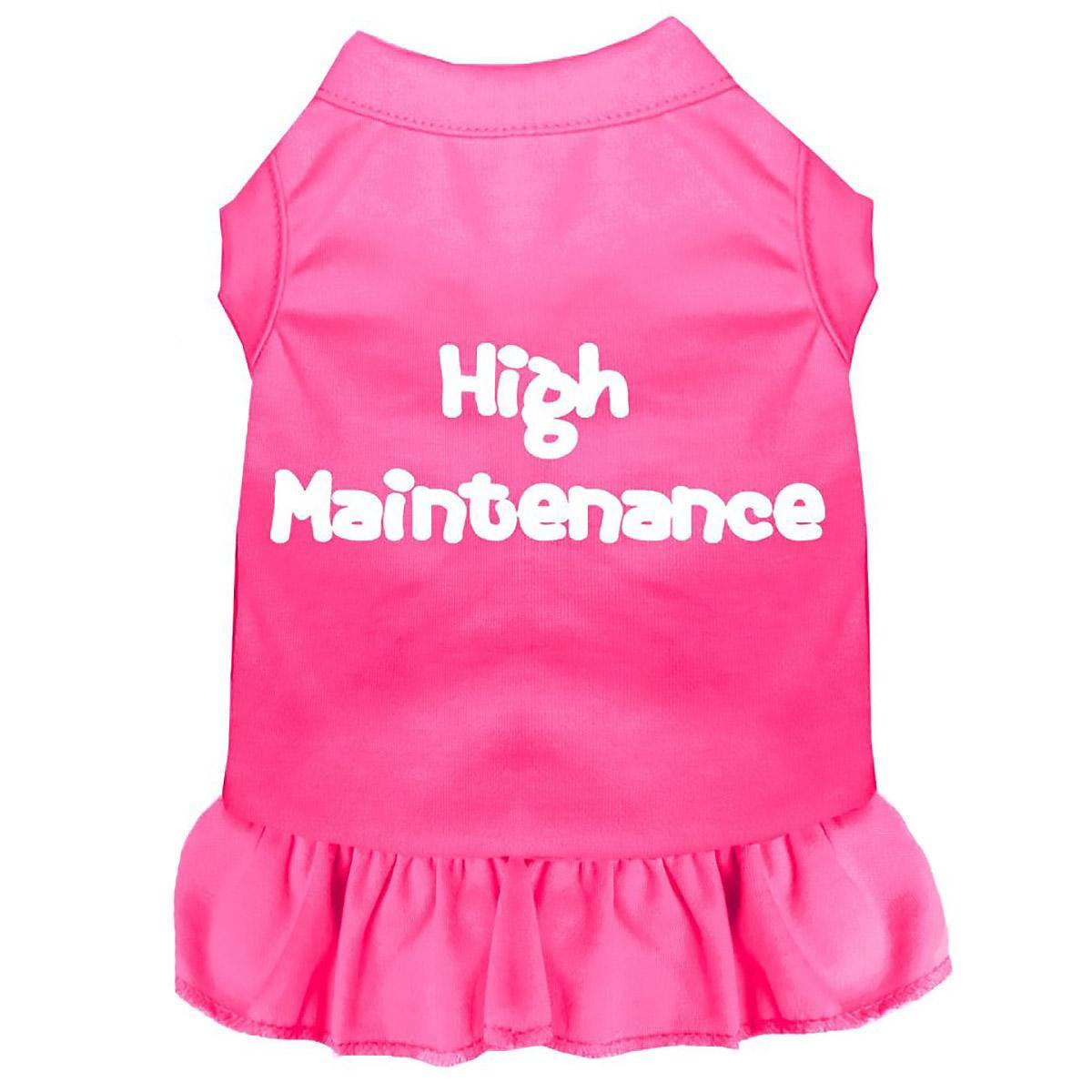 High Maintenance Screen Print Dog Dress - Bright Pink