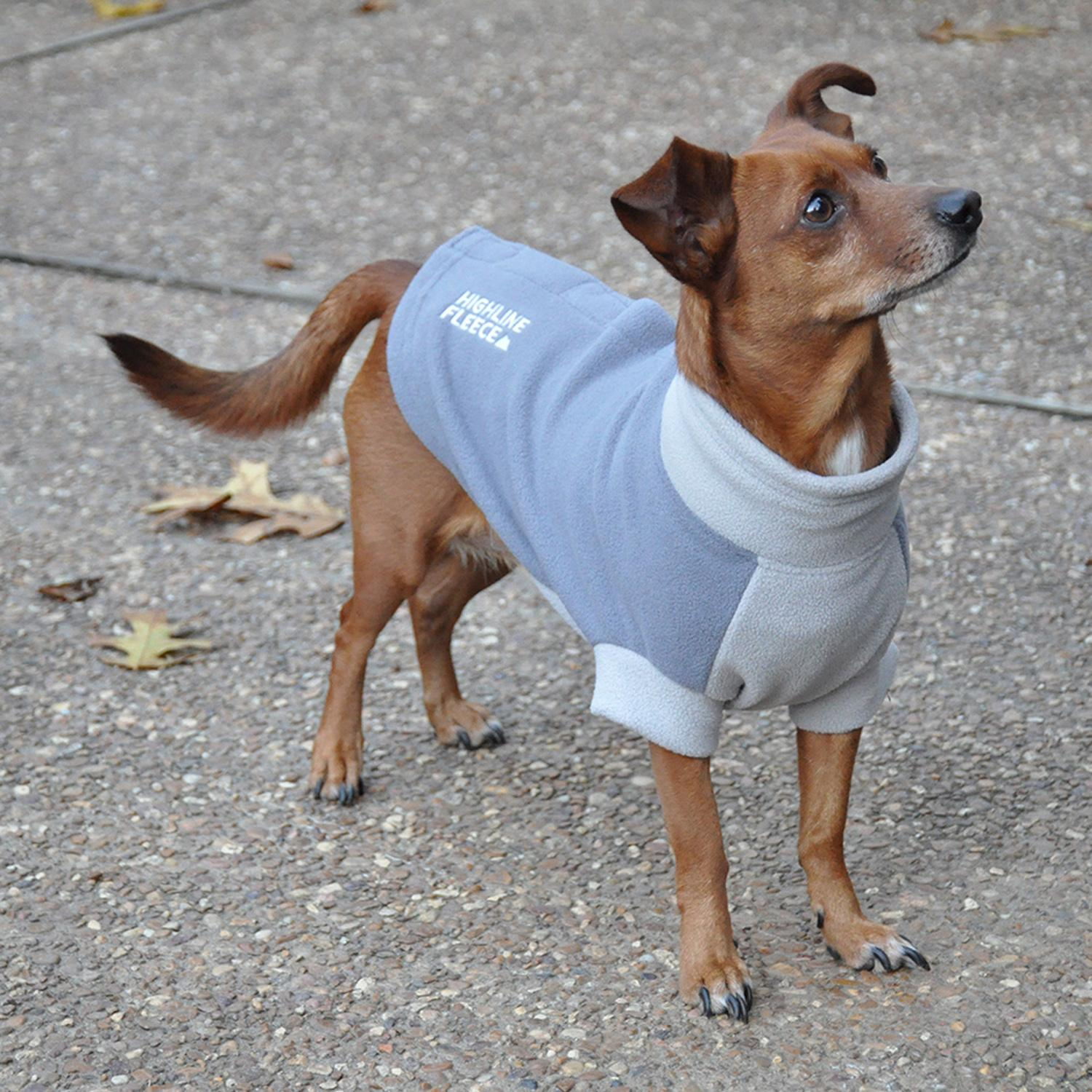 Highline Fleece Dog Coat by Doggie Design - Two Tone Gray