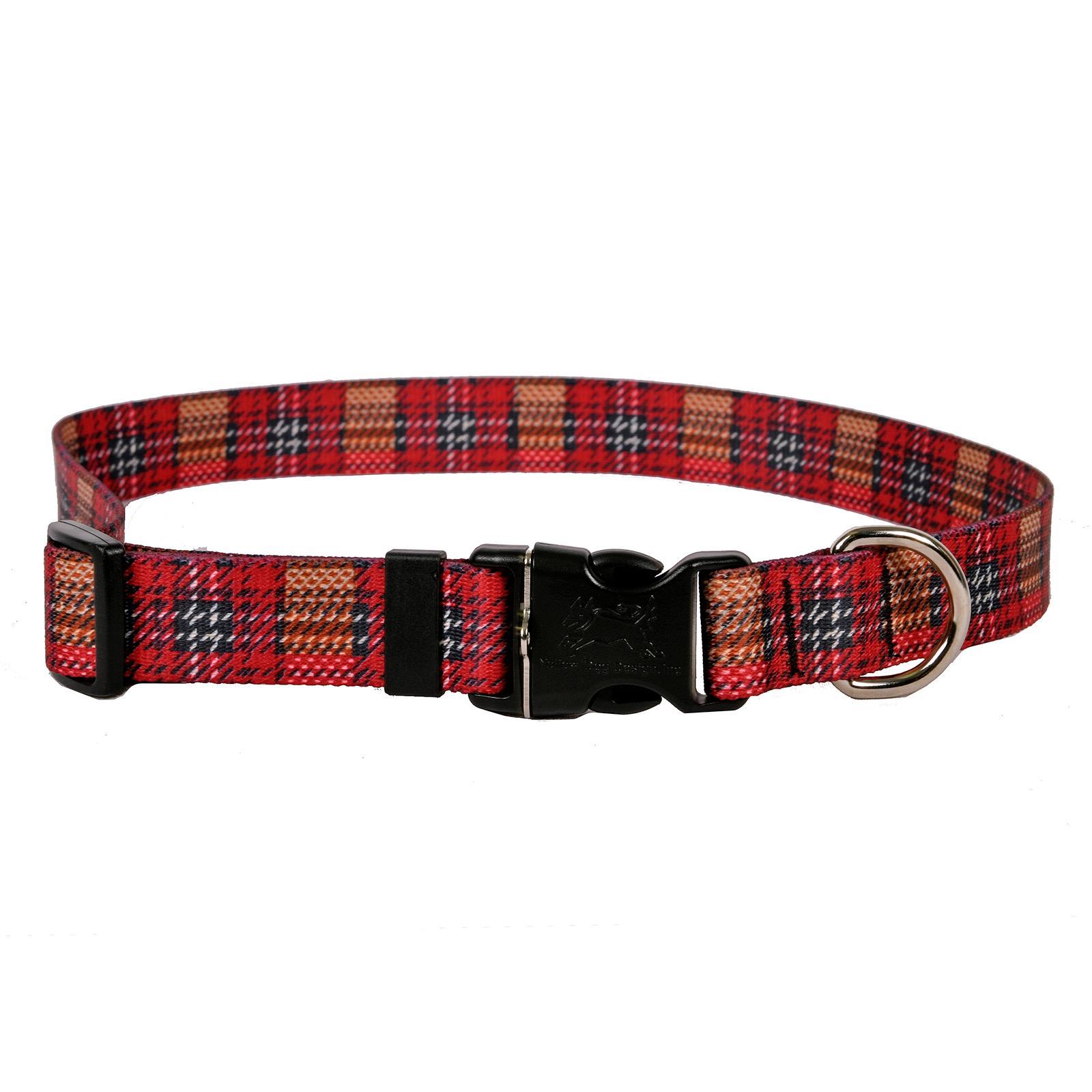 Highland Plaid Dog Collar by Yellow Dog - Red