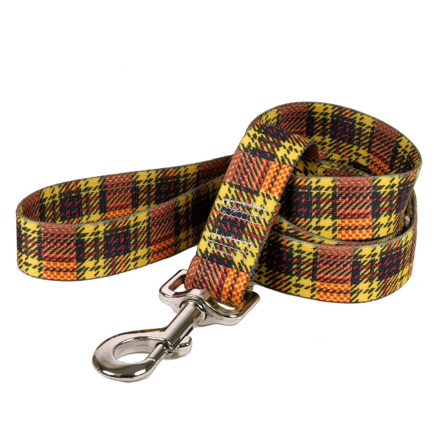 Highland Plaid Dog Leash by Yellow Dog - Yellow