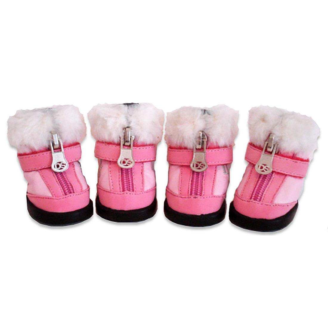 Hiker Dog Boots with Faux Fur Trim - Pink