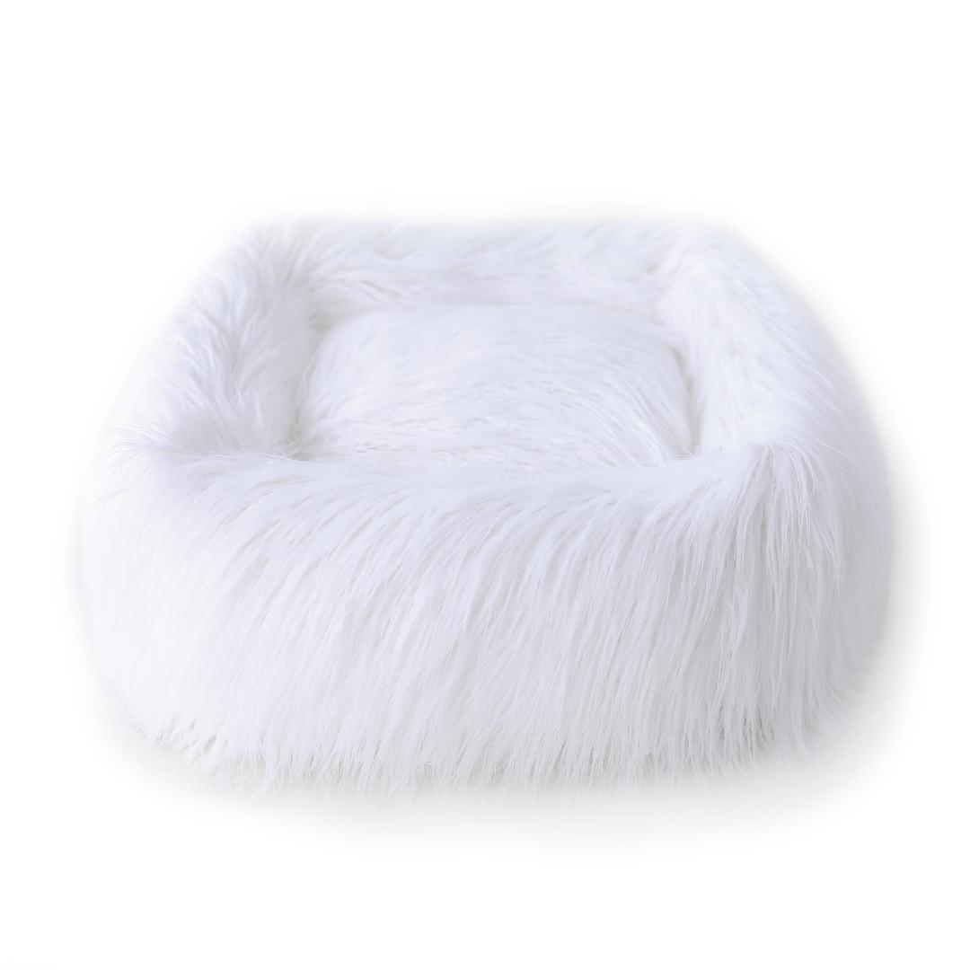 Himalayan Yak Dog Bed by Hello Doggie - White