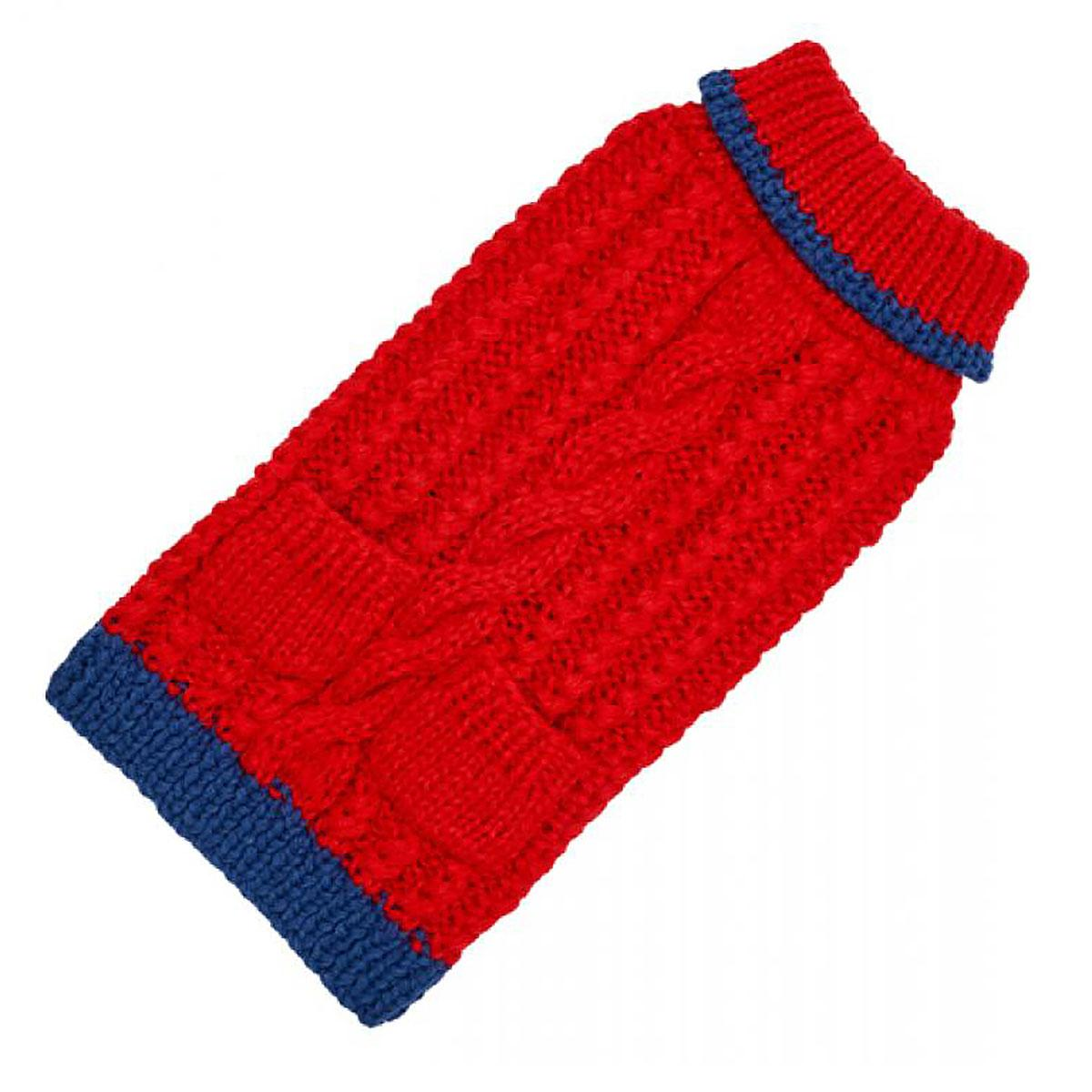 Hand Knit Dog Sweater by Up Country - Red Classic Cable