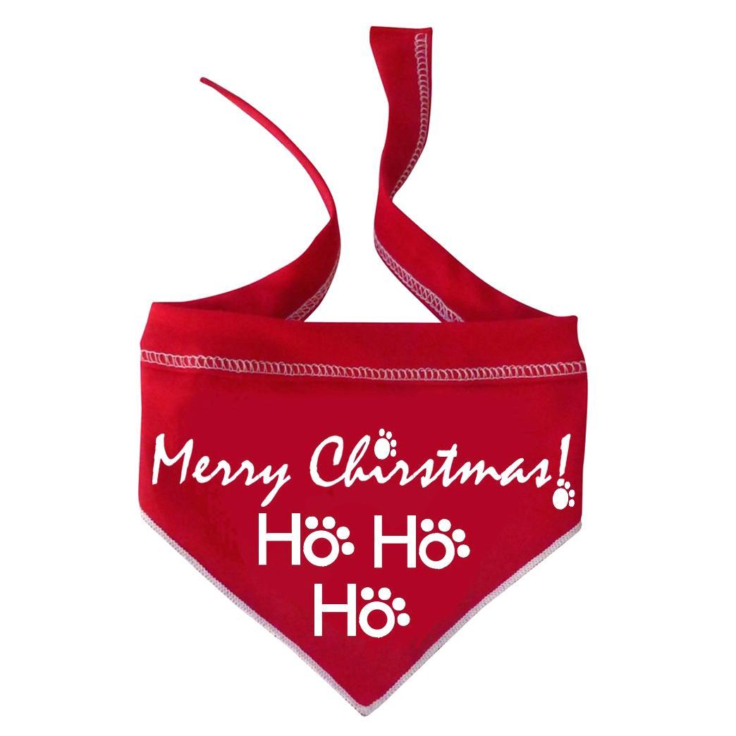 HO HO HO Merry Christmas Dog Bandana Scarf - Red