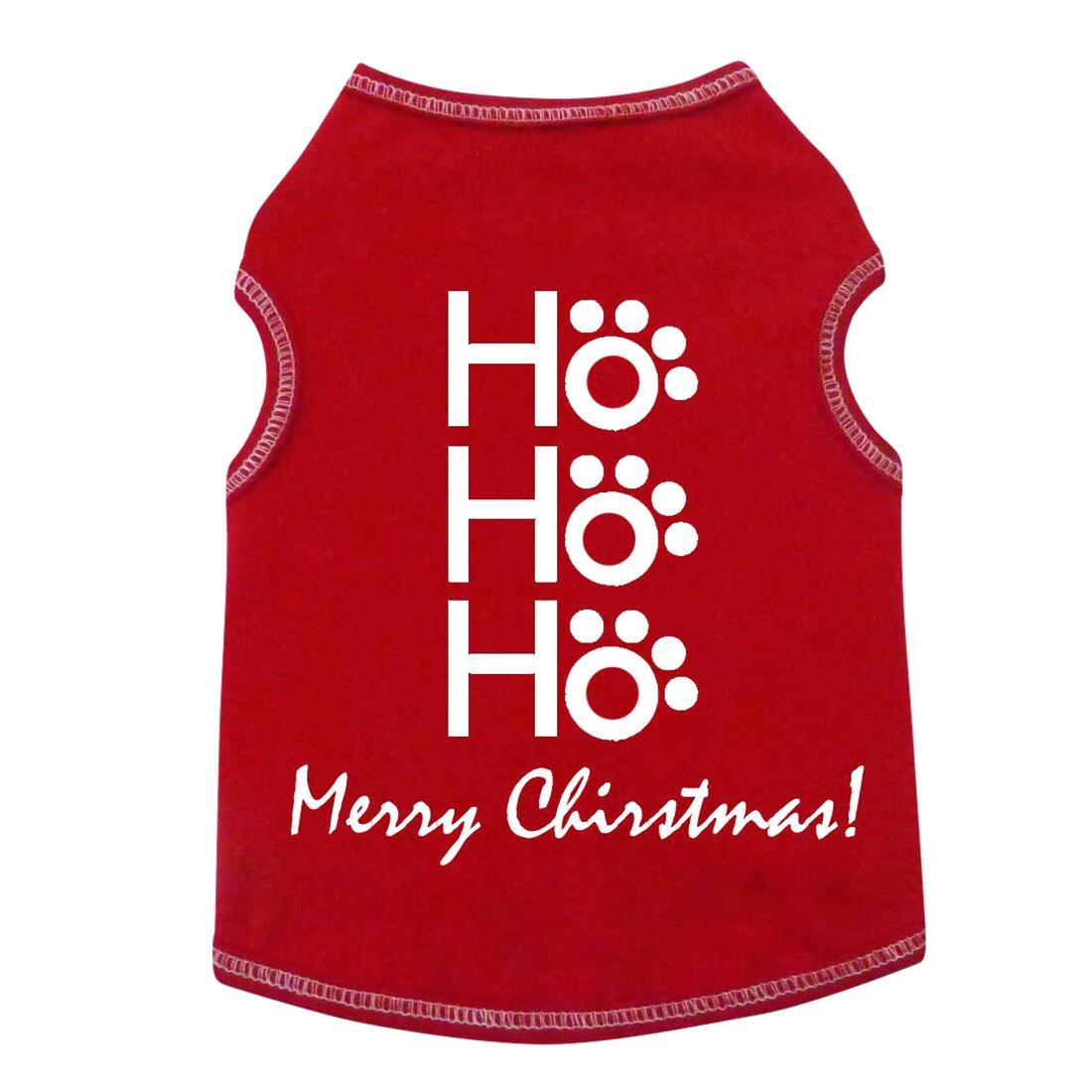 HO HO HO Merry Christmas Dog Tank - Red