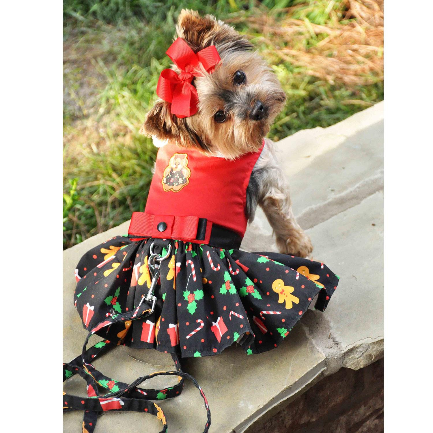 Holiday Dog Harness Dress by Doggie Design - Gingerbread