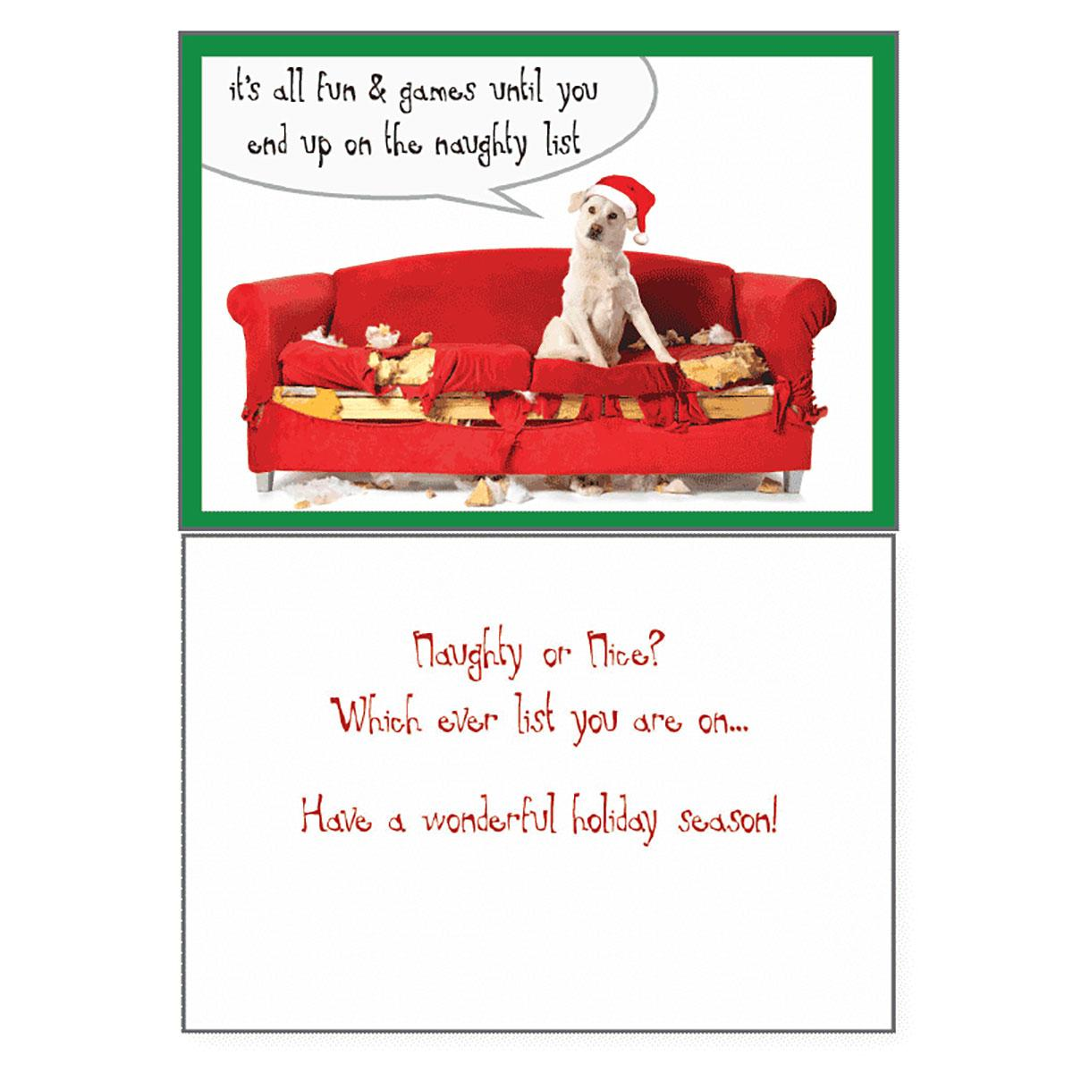 Holiday Greeting Card by Dog Speak - Naughty or Nice List