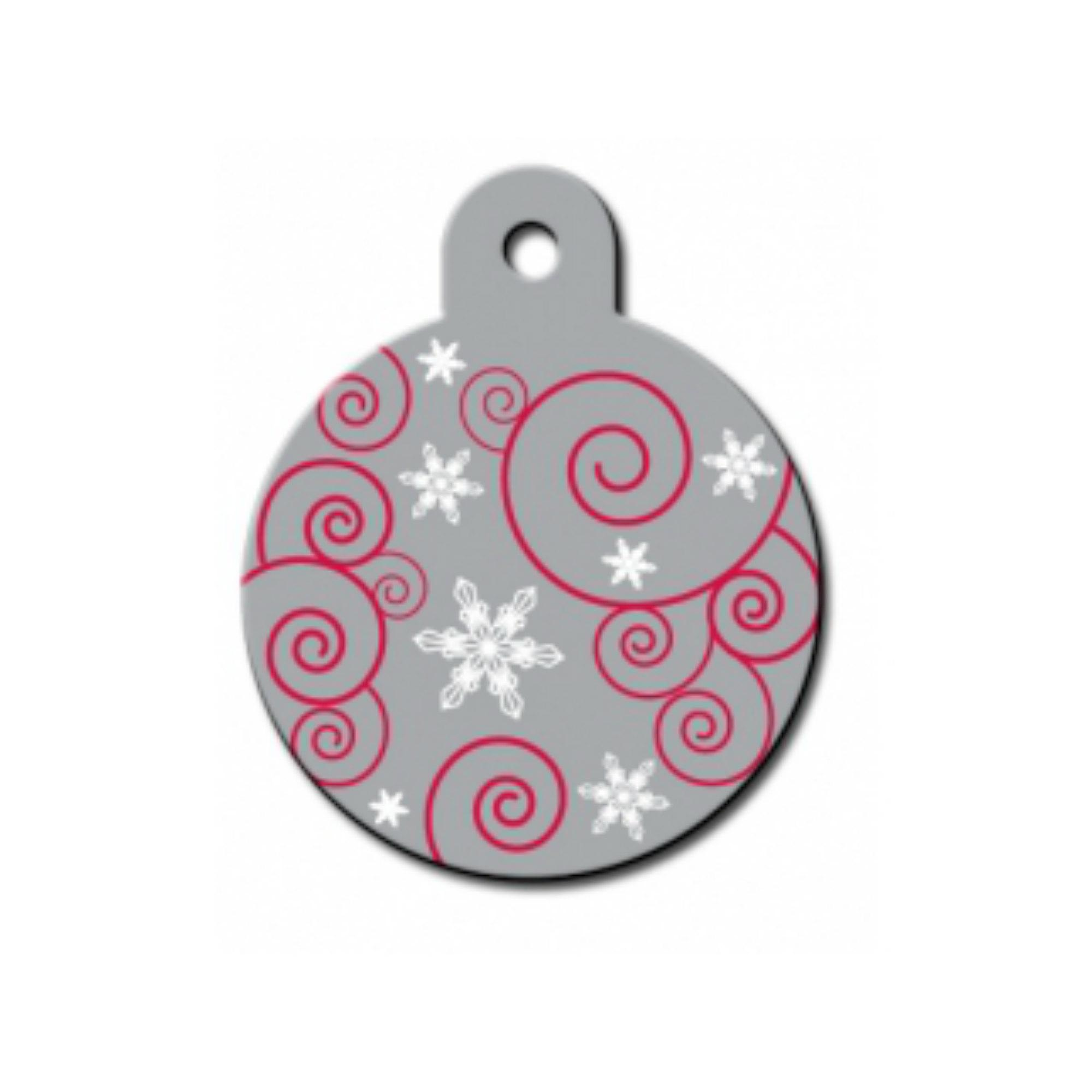 Holiday Large Circle Engravable Pet I.D. Tag - Silver Ornament
