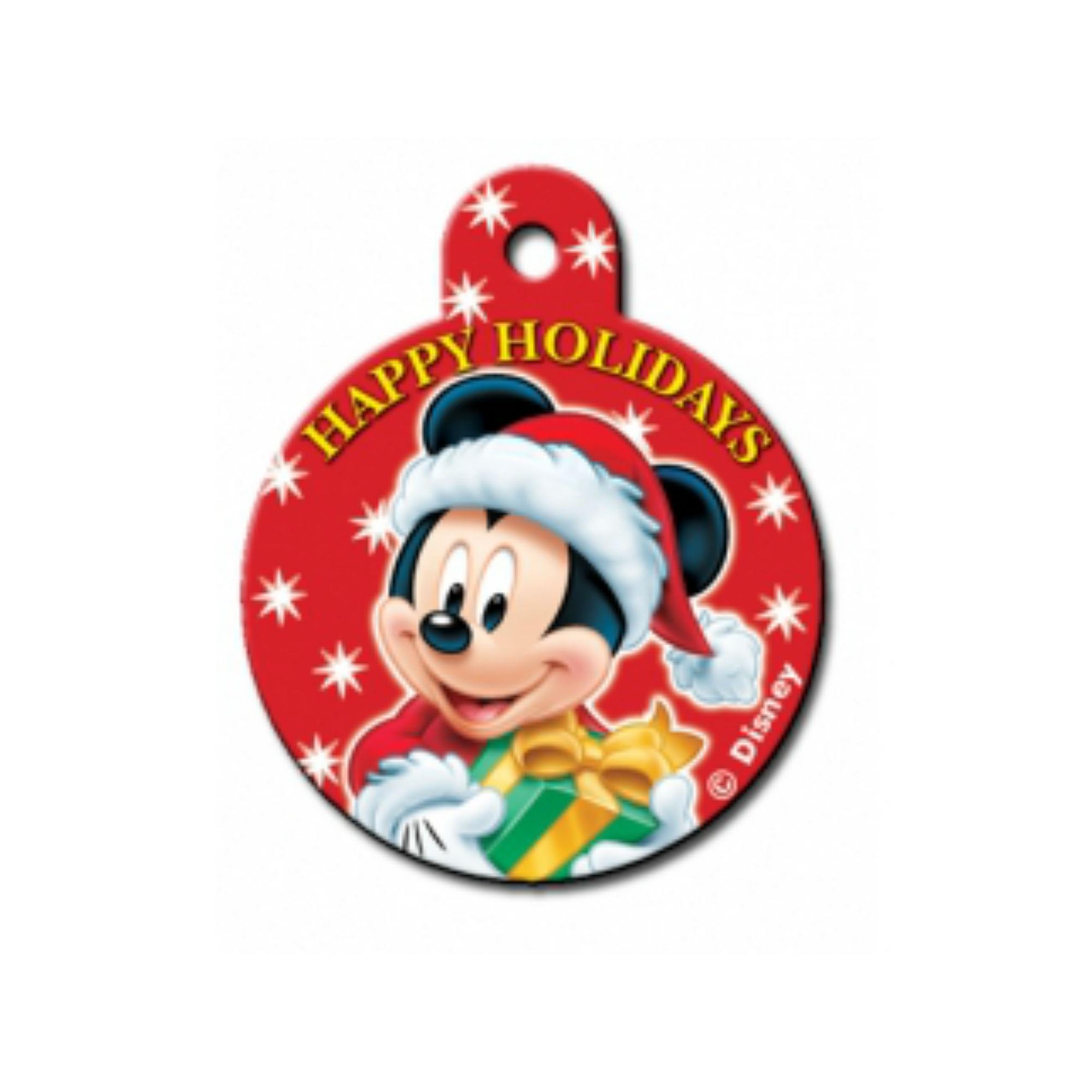 Holiday Large Circle Engravable Pet I.D. Tag - Mickey & Presents