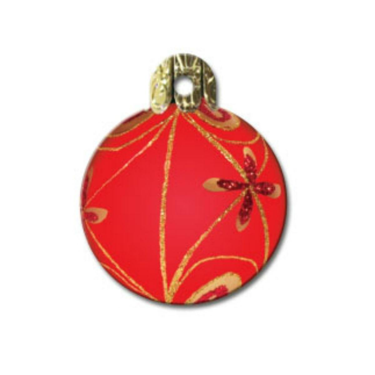 Holiday Large Circle Engravable Pet I.D. Tag - Red and Gold Ornament