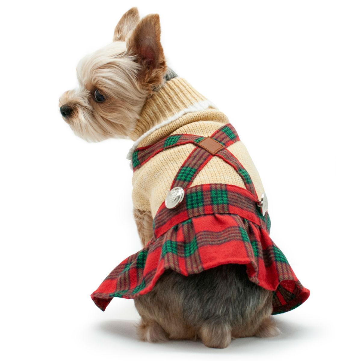 Holiday Plaid Dog Sweater Dress by Dogo