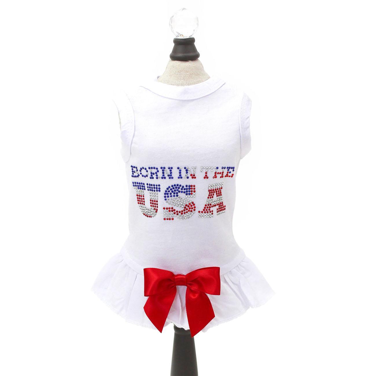 Hello Doggie Born in the USA Dog Dress - White