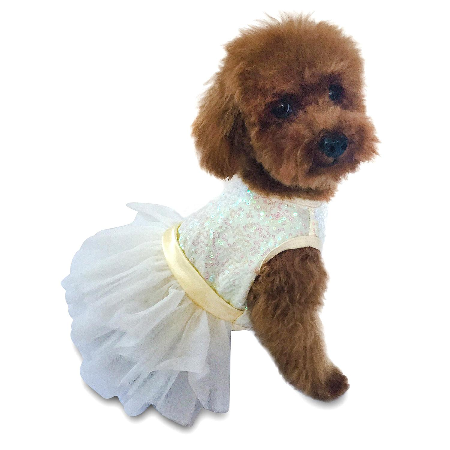 Hollywood Hologram Sequin Fufu Tutu Dog Dress - Ivory