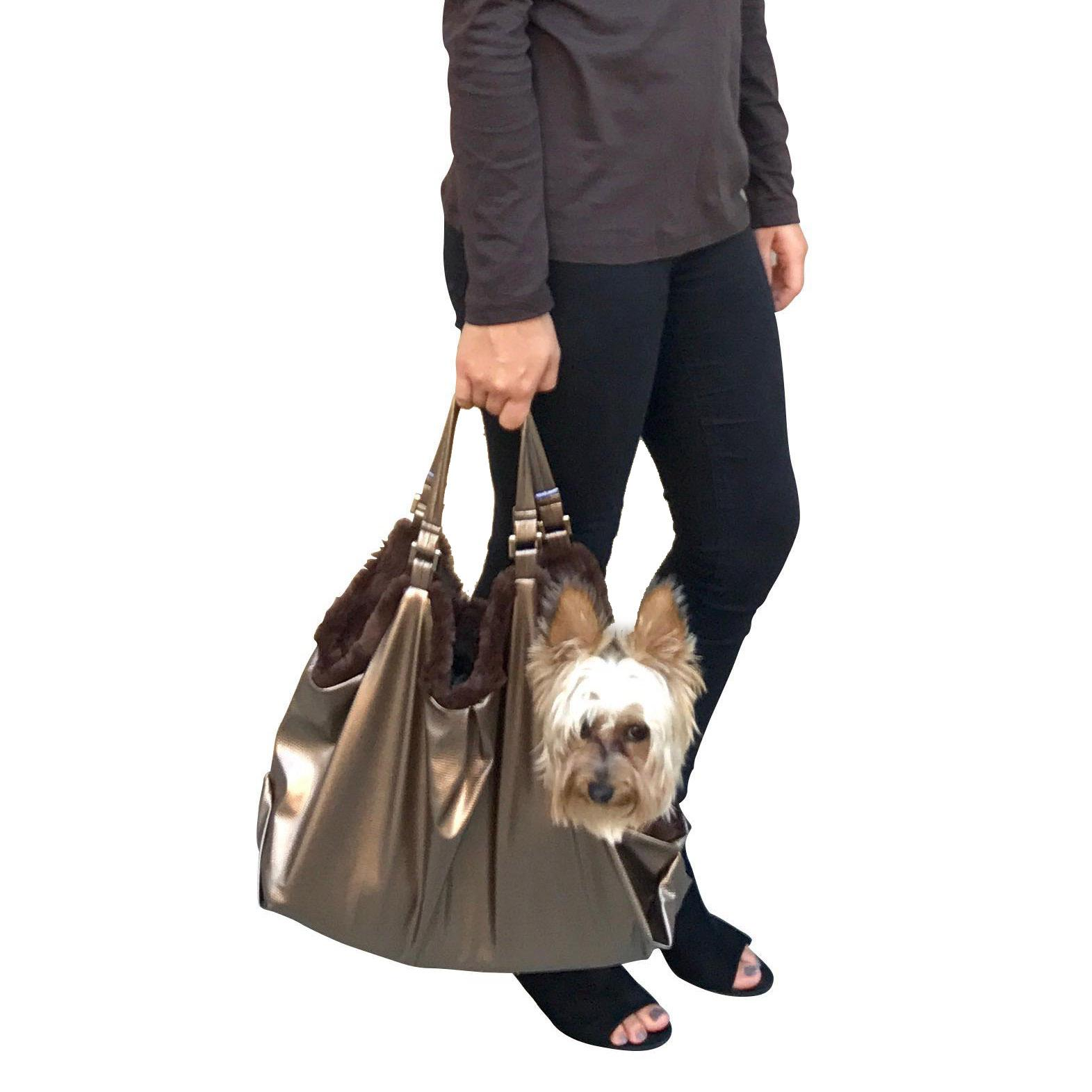 Hollywood Fur-lined Dog Tote Carrier - Metallic