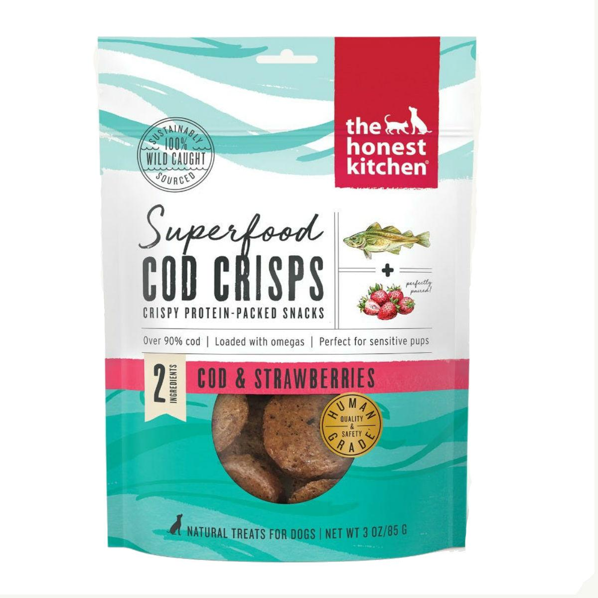 The Honest Kitchen Superfood Cod Crisps Dog Treat - Strawberry