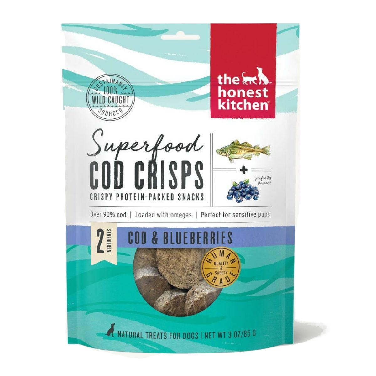The Honest Kitchen Superfood Cod Crisps Dog Treat - Blueberry
