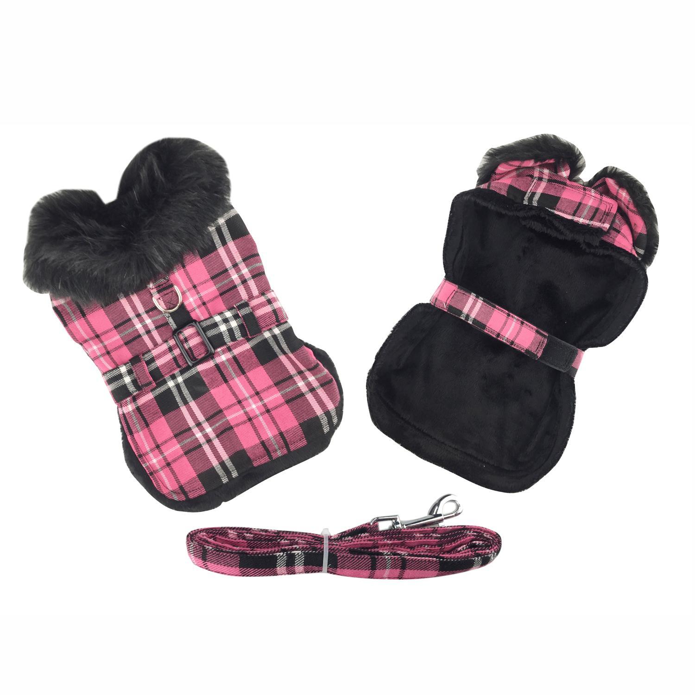 Plaid Fur-Trimmed Dog Harness Coat - Hot Pink and Black by Doggie Design