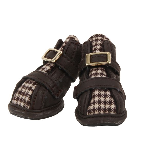 Houndstooth Dog Shoes by Puppia - Brown