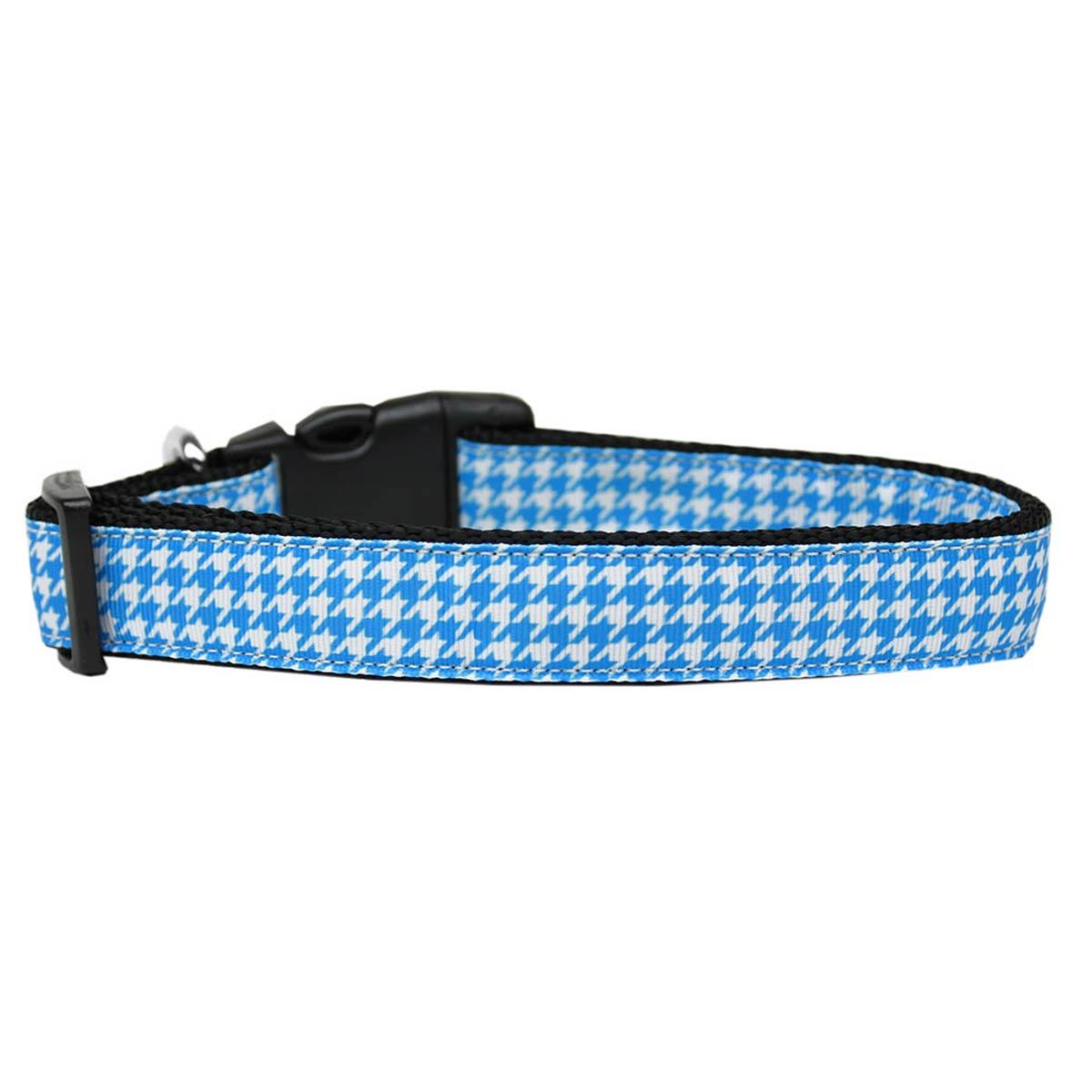 Houndstooth Nylon Dog Collar - Blue